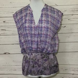 CAbi Purple Plaid and Floral Patterned Blo…